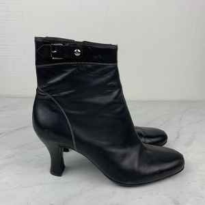 Cole Haan City Black Ankle Leather Heeled Booties